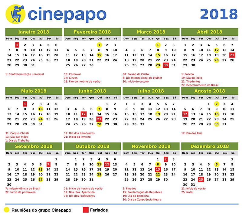 Calendario 2018 Feriados Rio De Janeiro Takvim Kalender Hd